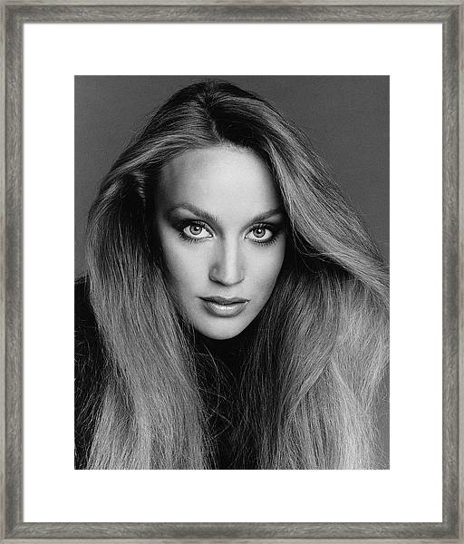 Portrait Of Jerry Hall Framed Print