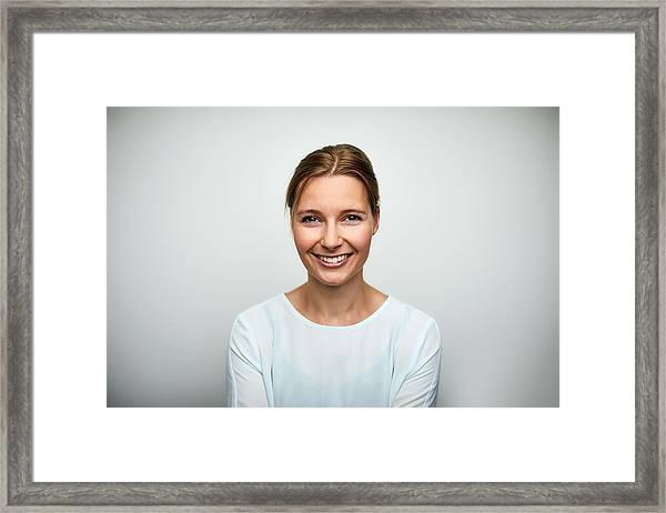 Portrait Of Mid Adult Businesswoman Smiling Framed Print by Morsa Images