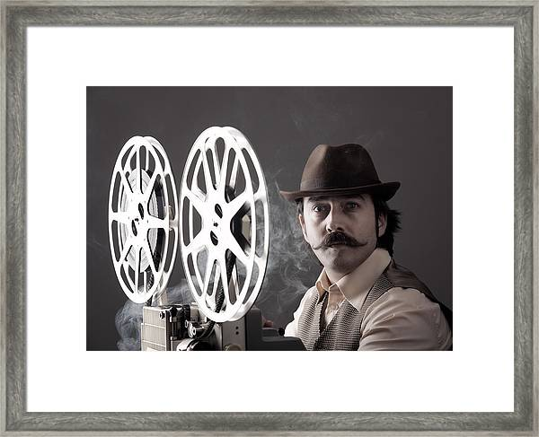 Portrait Of Old Fashioned Cinematographer Framed Print by Selimaksan