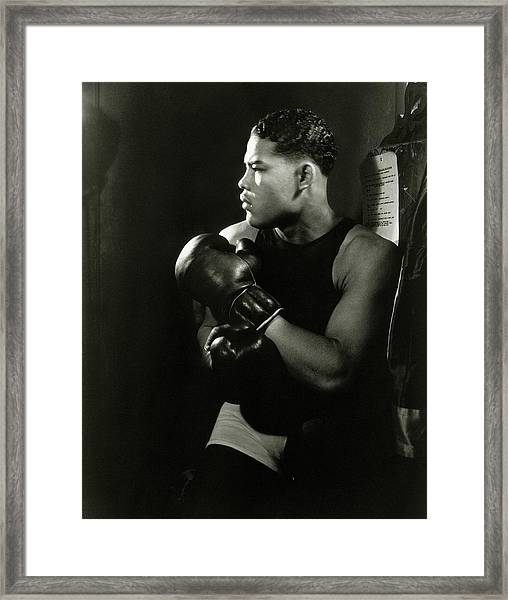 Portrait Of Professional Boxer Joe Louis Framed Print by Lusha Nelson