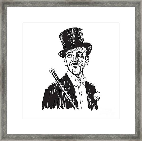 Portrait Of The Elegant Cheerful Man Framed Print