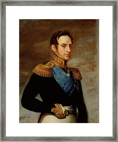 Portrait Of Tsar Nicholas I Framed Print