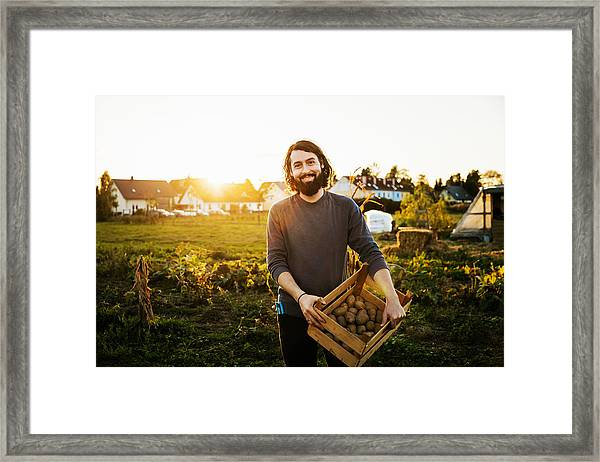 Portrait Of Urban Farmer Holding Crate Of Potatoes Framed Print by Tom Werner