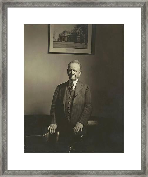 Portrait Of U.s. Congressman Framed Print by Edward Steichen