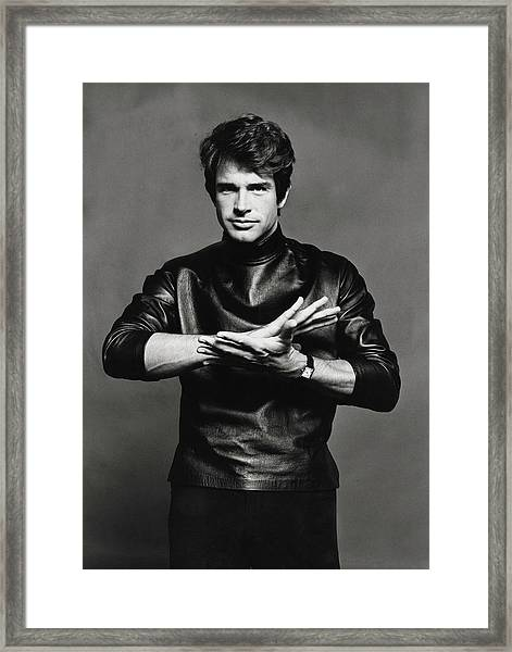 Portrait Of Warren Beatty Framed Print