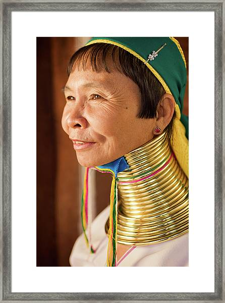 Portrait Of Woman From Long Neck Framed Print by Hadynyah