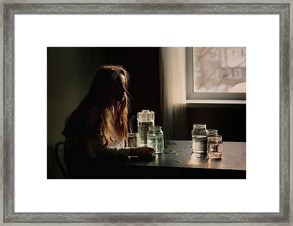 Portrait With Bottle Framed Print