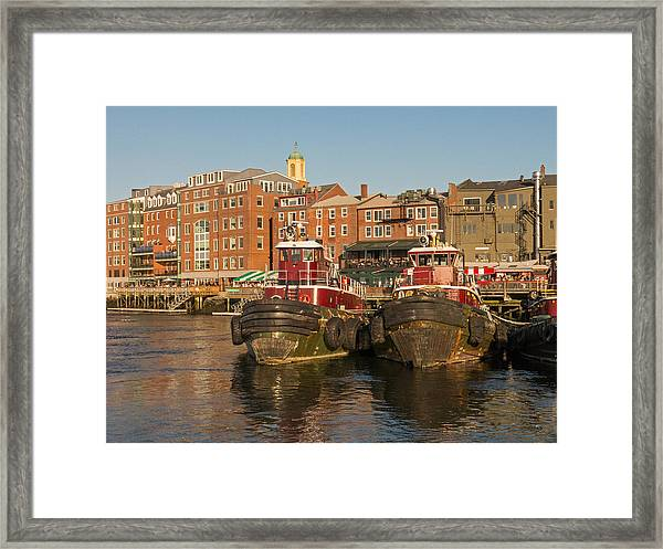 Portsmouth Harbor With Tugboats Framed Print