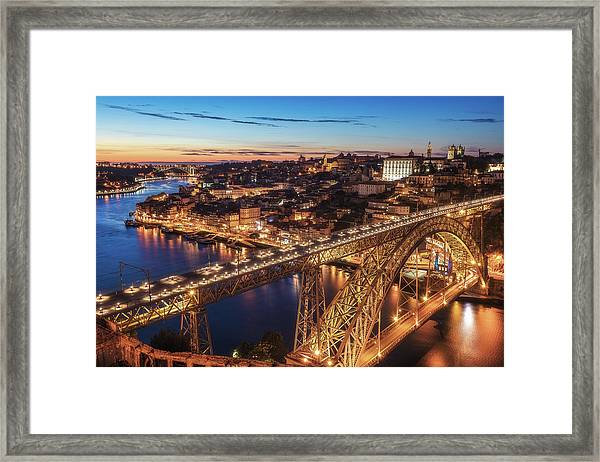 Portugal - Porto Blue Hour Framed Print by Jean Claude Castor