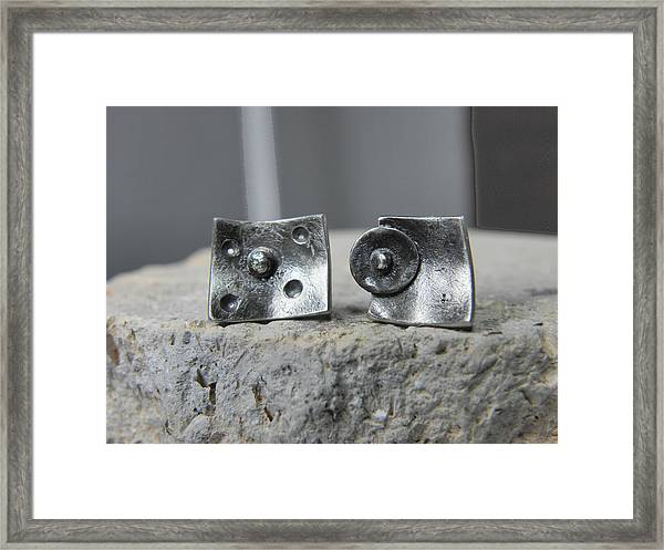 Post Stud Silver Unisex Earrings Framed Print by Vesna Kolobaric