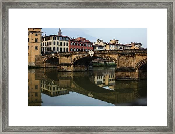 Postcard From Florence - Arno River And Ponte Santa Trinita  Framed Print
