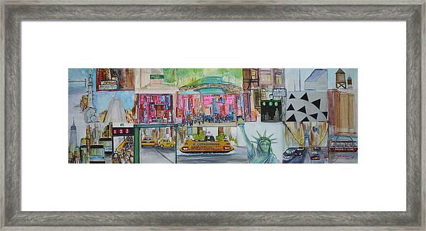 Postcards From New York City Framed Print