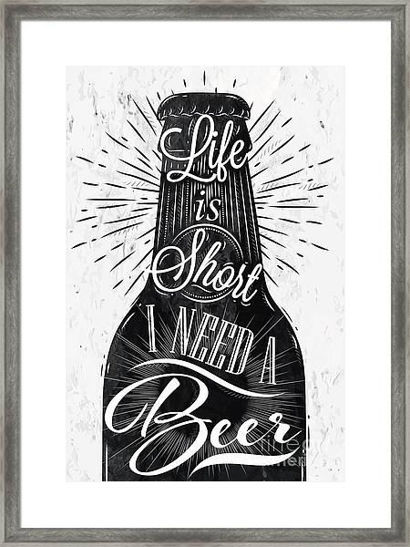 Poster Bottle Restaurant In Retro Framed Print