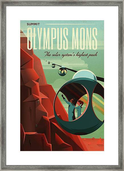Poster For Tours Of Olympus Mons Framed Print by Nasa/science Photo Library