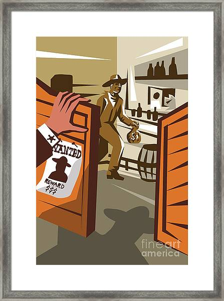 Poster Illustration Of An Outlaw Cowboy Framed Print by Patrimonio Designs Ltd