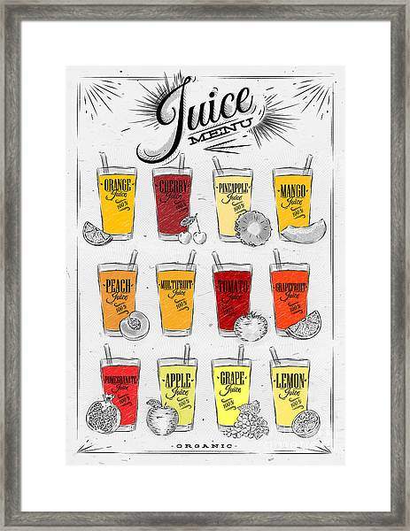Poster Menu With Glasses Of Different Framed Print