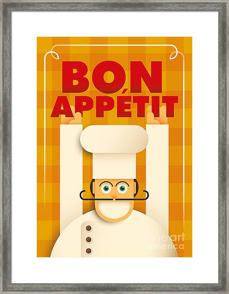Poster With A Comic Chef. Vector Framed Print by Radoman Durkovic