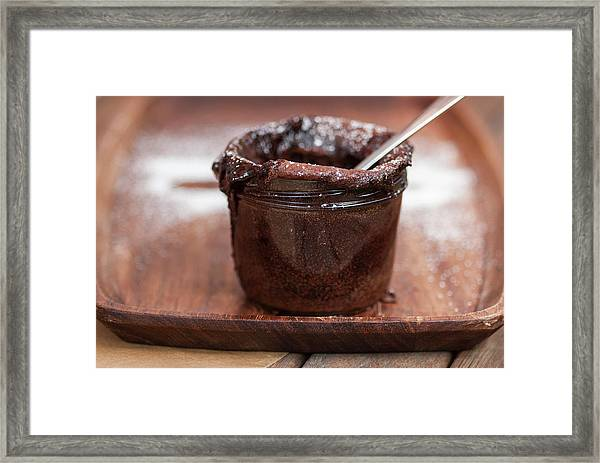 Pot Of Chocolate Dessert On Tray Framed Print