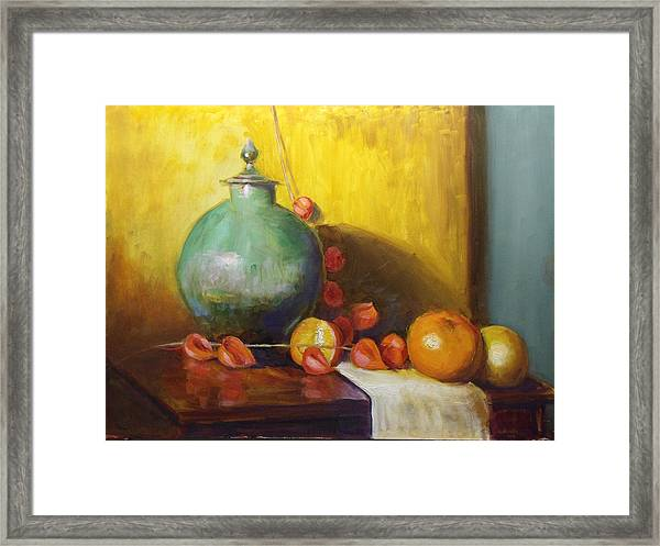 Pot With Fruit Framed Print