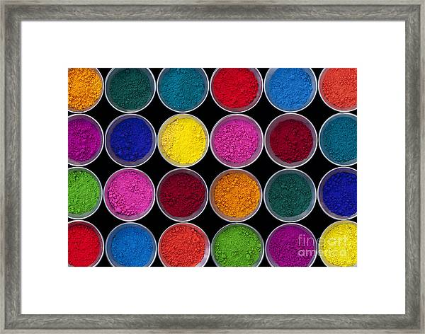 Pots Of Coloured Powder Pattern Framed Print