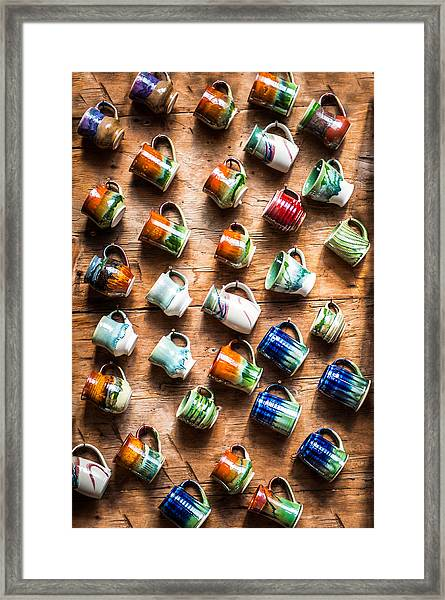 Pottery Cups Framed Print
