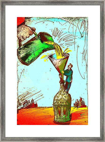 Pouring Liquid Gold Into Bottle Framed Print by Vasily Kafanov
