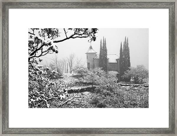 Powderbox Church With Snow In Jerome Arizona Framed Print