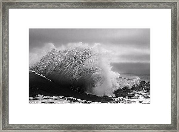 Power In The Wave Bw By Denise Dube Framed Print