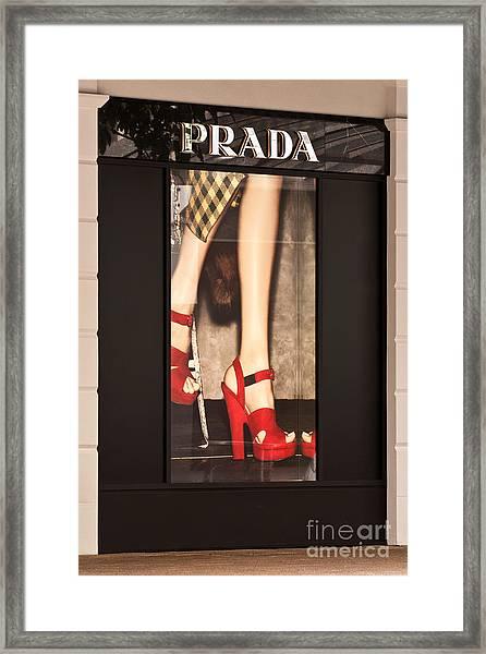 Prada Red Shoes Framed Print