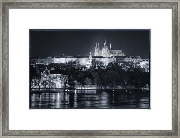 Prague Castle At Night Framed Print