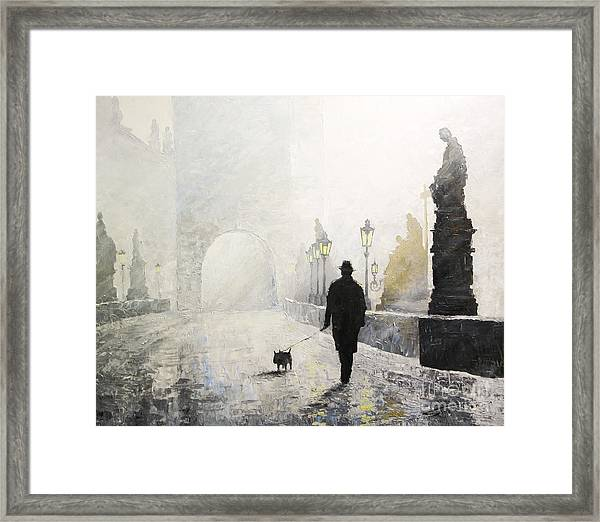 Prague Charles Bridge Morning Walk 01 Framed Print