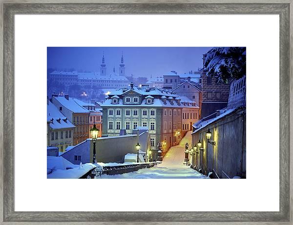 Prague In White Framed Print by Martin Froyda