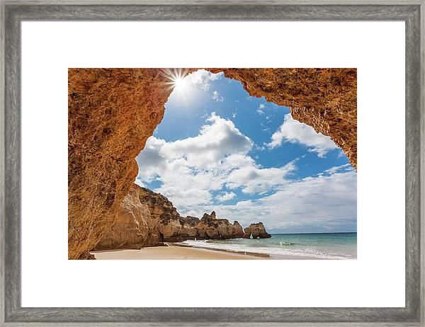 Praia Dos Tres Irmaos Beach, Algarve Framed Print by Peter Adams