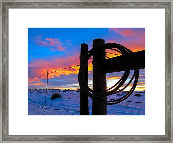 Prairie Fence Sunset Framed Print