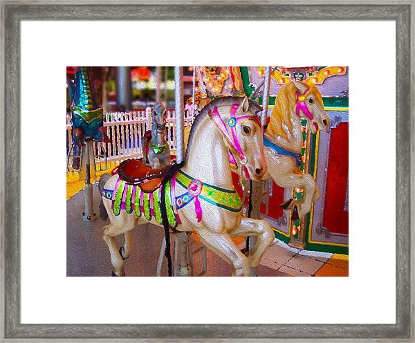 Prancing Carousel Horses Framed Print