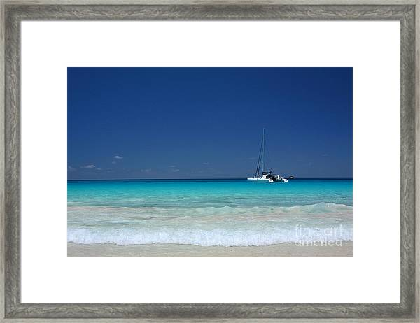 Praslin Island Catamaran Framed Print