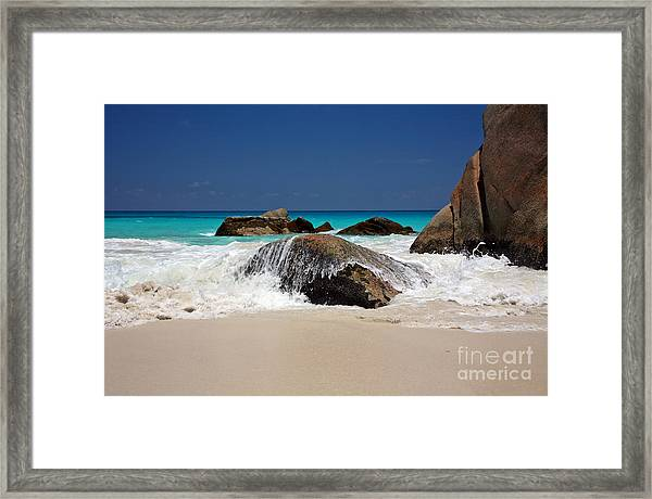 Praslin Island Waves Framed Print