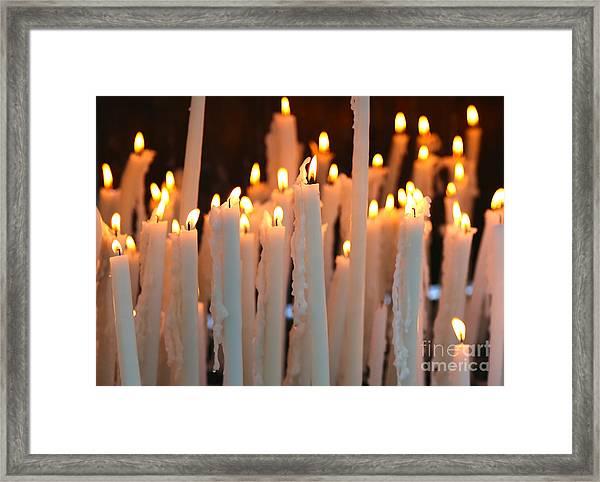 Prayer Candles In Lourdes Framed Print