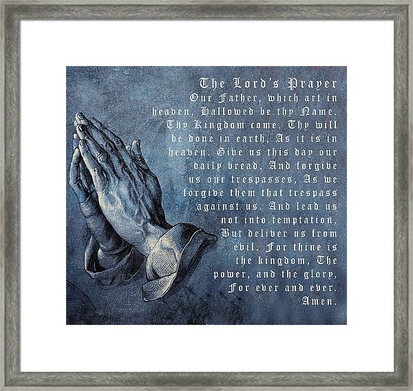 Praying Hands Lords Prayer Framed Print