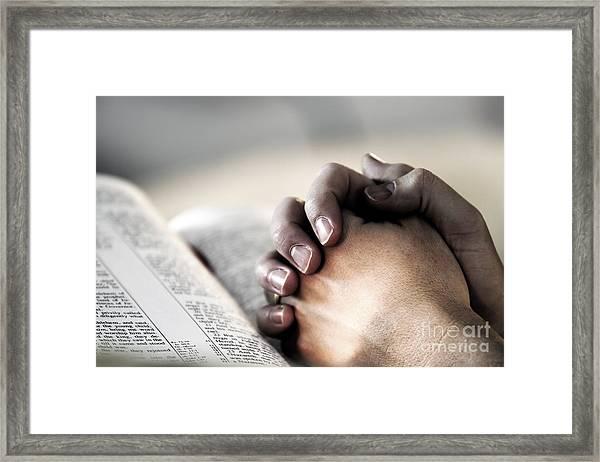 Praying In The Light Framed Print