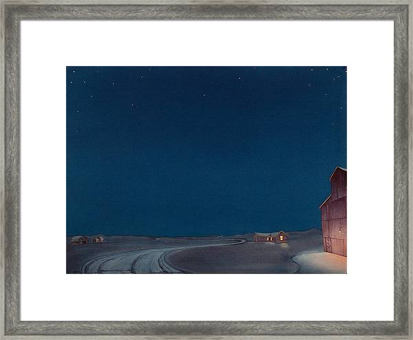 Framed Print featuring the painting Pre-dawn On The Hi Line II by Scott Kirby