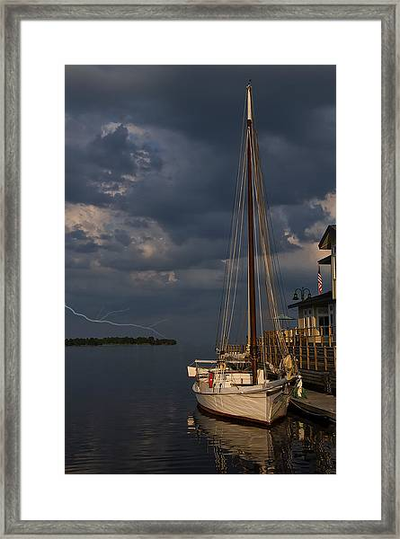 Preparing For The Storm Framed Print