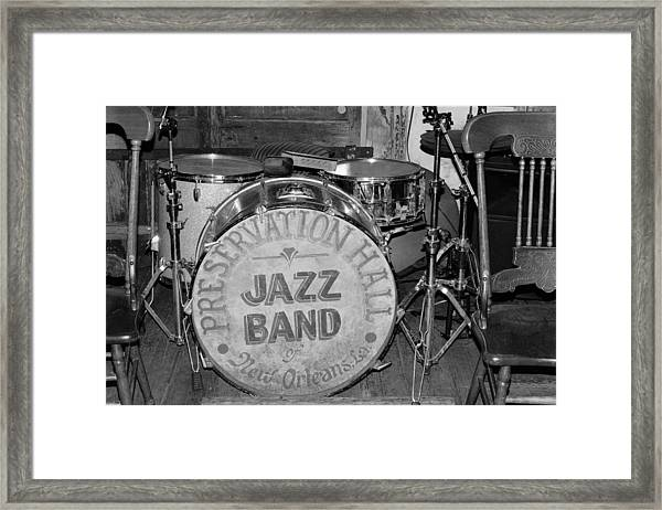 Preservation Hall Jazz Band Drum Bw Framed Print