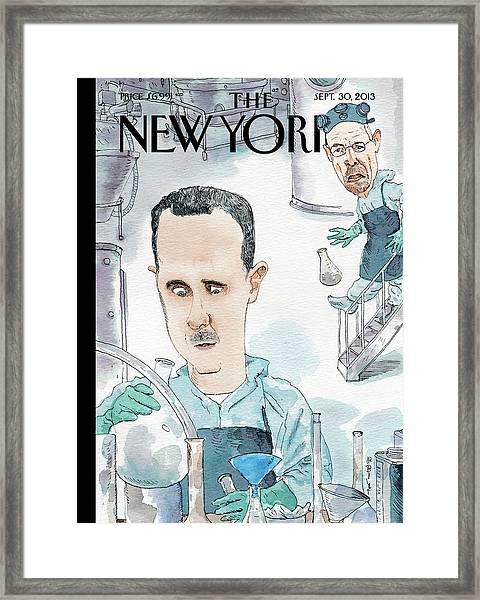 President Assad Cooks Up A Chemical Cocktail Framed Print