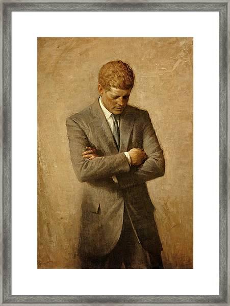 President John F. Kennedy Official Portrait By Aaron Shikler Framed Print