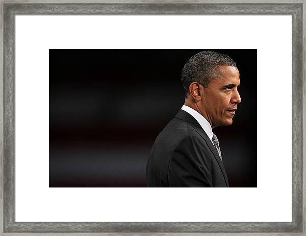 President Obama Speaks On The Economy Framed Print