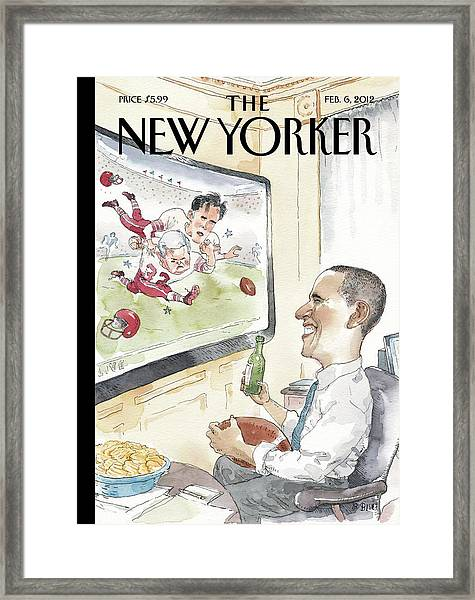 President Obama Watches Football On Tv Framed Print