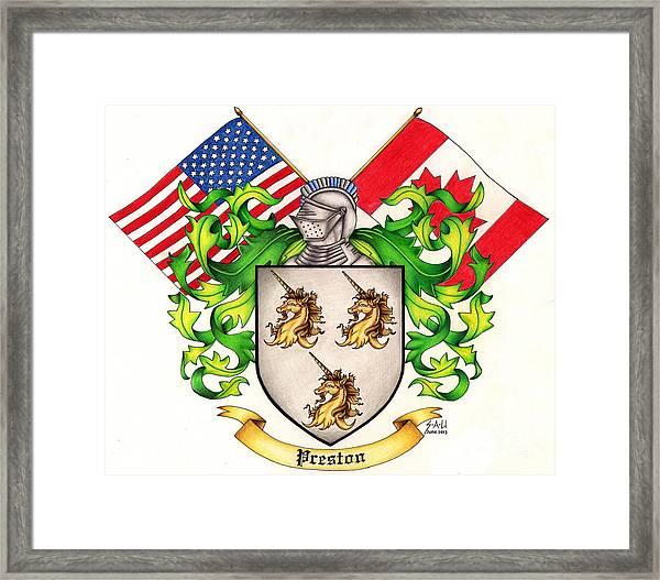 Preston Family Crest Framed Print by Sheryl Unwin