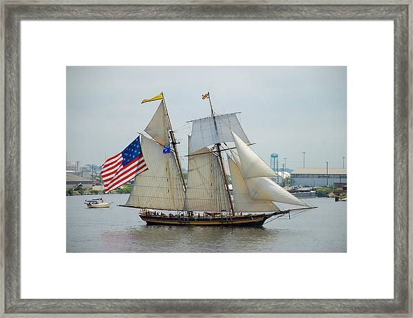 Pride Of Baltimore II Passing By Fort Mchenry Framed Print