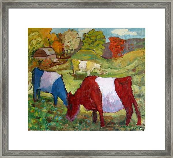 Primary Cows Framed Print